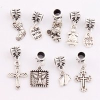 bell trigger - 180Pcs styles mix Antique silver Angel Made With Love Cross Feet Bell Clasp European Lobster Trigger Clip On Charm Beads BM19