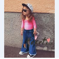 baby rose jeans - INS Baby outfit autumn new baby girls rose red backless T shirt hole jeans wide wide leg bootcut toddler kids fall clothes A9190