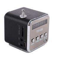 al por mayor altavoz recargable-Micro USB portátil mini estéreo bajo estupendo de la aleación de aluminio altavoz de la música MP3 / 4 de radio de FM incorporado en la batería recargable
