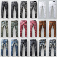 Wholesale BALMAIN jeans hot mens designer jeans famous brand balmai jeans men distressed jeans ripped denim balman Robin Jeans