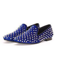 al por mayor clavos clavan el vestido-Los zapatos clásicos de los hombres de Harpelunde visten los pernos prisioneros azules de los holgazanes del terciopelo que casan los zapatos El envío libre de la gota libre del calzado de los puntos calza 7-14