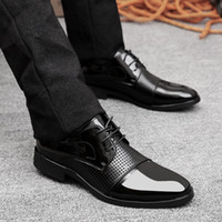 imported fabric - PP Fashion Western Style Men s Oxford Lace up Imported Patent Leather Dress Wedding Formal Platform Wedges Hollow Holes Business Shoes