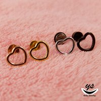 Wholesale High quanlity new arrive steel gold rose gold black colour body jewelry piercing L stainless stee heart simple gold earringl