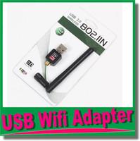 al por mayor adaptador de red inalámbrico externo-Router wifi tarjetas USB Dongle externo inalámbrico Wi-Fi adaptador WLAN 150M de red LAN de 150 Mbps para el ordenador portátil PC 802.11b / g / n + 5 dB Antena OM-CH9