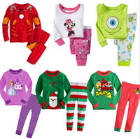 Wholesale Cotton Long Sleeve Cartoon Girls Boys Kids Clothing Sets Suits Pajama Piece Fashion Father Christmas Sleepwear for T