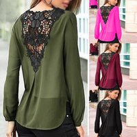 army fashion clothing - New Fashion Autumn Women s Girl s V Neck Chiffon Shirts Blouse Lace Crochet Backless Long Sleeved Clothes ED829 Freeshipping