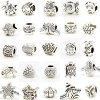 Wholesale 75 Different Designs Charm Loose Beads Big Hole European Silver Plated DIY Jewelry Accessories Necklace Bracelet Beads