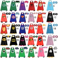 Wholesale Kids Double Side Superhero Capes and masks Batman Spiderman Ninja Turtles Flash Supergirl Batgirl Robin for Kids Capes with Mask Party