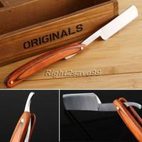 Wholesale New High Quality Folding Retro Men Shaving Razor Wooden Steel Straight Barber Beard Throat Shaving Knife Cut Tool for Male