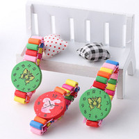 Wholesale 2016 new Toy watches childrens wooden toys kids play watch clock bracelets cartoon baby toys