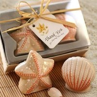 Wholesale 1 Set Ceramic Salt and Pepper Shakers Seashell Canister Beach Theme Fantastic Wedding Party Favors Freeshipping HCB0004P30
