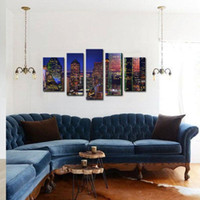 Cheap 5 Picture Combination Art City Night Canvas Print Oil Painting Wall Art Modern Canvas Decor Abstract Paintings on Canvas