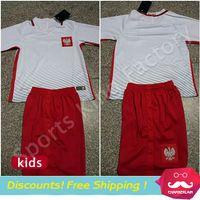 athletic shorts boys - kids Poland Children Short Suit EURO CUP Poland Lewandowski Kids Shirt Y Boys Athletic Wear