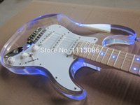 Wholesale wholsale NEW guitarra st guitarra maple neck oem Acrylic body electric guitar with LED guitar in china