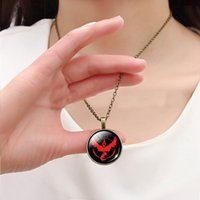 gemstone jewelry - Anime Poke GO Cos Team Valor Instinct Mystic Pendant Necklaces Antique Bronze Round Gemstone Cabochon Jewelry Novelty Christmas Gift