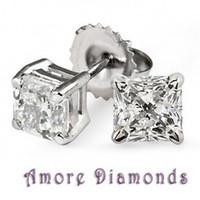 Wholesale 13 ct GIA H SI1 natural princess cut diamond stud earrings platinum push backs