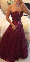 Wholesale Burgundy Sequins Graduation Dresses Prom Gowns Sparkly Beaded Floor Length Sweetheart Sleeveless Sexy Deep V Neck Evening Party Dresses