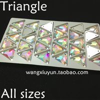 Wholesale 12mm mm mm Sew on Triangle Rhinestone crystal AB color sewing Crystal for Dress Making