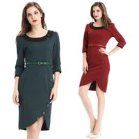 asymmetrical hem tunic - Fashion Tunic Work Casual dresses Peter Pan Collar Button Women Pencil Dress Three Quarter Sleeve Asymmetrical Hem Sheath Belted Dress NSHA1