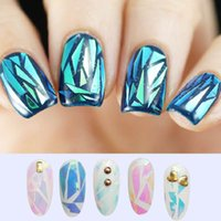 Wholesale NEW Bling Nail Art Stickers Broken Glass Pieces Mirror Foil Stencil Decals Beauty Decoration Tools DIY