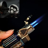 Wholesale Triple Jet Windproof Torch Gas Lighter Flame Butane For Cigar Cigarette H210738