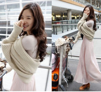 Wholesale women fashion wrap full sleeve solid swing girl thin wool crocheted scarf collar cashmere Shawl sweater top