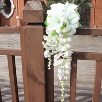 Wholesale Silk wedding bouquet bridal waterfall bouquet white Bride s Bouquet wedding decor h