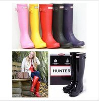 army boots uk - Top Quality Rainboots Hunter Wellies Boots women Winter Warm High Boots Waterproof Hunter Boots Ms glossy Welly Boots Black Rose Bottom uk