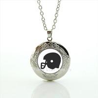 american football helmets - Trendy formal popular jewelry locket necklace American sport rugby jewelry football black helmet accessory for men and womenNF082