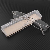 Wholesale Business Eyewear Clear Rimless Frameless Reader Reading Glasses Pocket Eyeglasses Travel Case