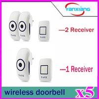 Wholesale 5pcs Home Wireless two Receiver Cordless Smart Door Bells Waterproof Plug in Type Wireless Doorbell With Chimes Door Bell YX ML