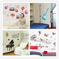 american violin - Music Equipment guitar violin blue guitar butterfly kindergarten bedroom kids Art Wall Sticker Children s Room Home Decor Mural Decal poster