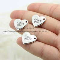 antique gold jewellery findings - 50pcs Antique Silver heart Charms I Love You Charms jewellery pendant Diy Finding mm D0808