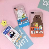 bare case - for iphone7 case iphone7 plus case waterproof case transparent soft TPU case Cute cartoon pattern bear panda We bare bears Lovers and bestie