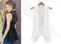 Wholesale New Women s Sexy Hollow Out Floral Lace Back Turn down Collar Chiffon Black White Sleeveless Thin Coat Cardigan Vest Tops