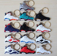 souvenir keychain - Jordan Keychains PVC Soft Basketball Shoes Key Pendant Car Keychain Generation Colours Fan Souvenirs