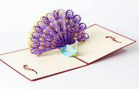 Wholesale Perfect D Pop Up birthday Wedding party Card Peacock Design Christmas Postcard New Year Greeting Card Handmade Folding Kirigami