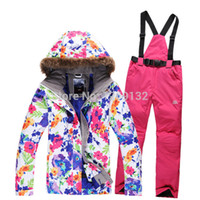Wholesale Hot sale Female snowboard ski suit jacket clothes sets pants windproof waterproof