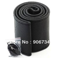 Wholesale Hot Black And Grey Set DIY Car Genuine Leather Steering Wheel Cover With Hole Size M