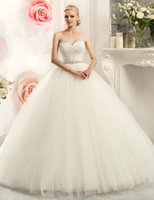 beaded mosaic - New Simple Attractive Sweetheart Wedding Dresses Crepe Bride Ball Gown Beaded Sash Mosaic Sweep Train Dress a1032