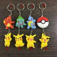 action accessories - 8 Styles Cartoon Pikachu Poke pvc Action Figures Poke Anime Keychain Keyring Pendant Halloween christmas gifts E1266