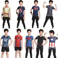 america tights - Ronaldo Kids new tights jersey workout clothes Iron man captain America superman batman spiderman young kids Cool running shirt