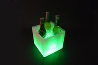 Wholesale Night Club Plastic LED Ice Bucket Double Layer Party Cooler L RGB Color changing Ice Cube