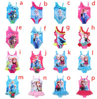 Wholesale 2016 New Arrival Summer Frozen Swimwear Elsa Children Girls Lovely Kids Fashion Swimsuit Swimming Cartoon Swimwear