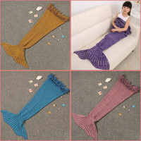Wholesale Hot Mermaid Tail Blankets Kids Acrylic Knitted Blanket Girls Mermaid Sofa Mat Crochet Garon Blanket For Kids