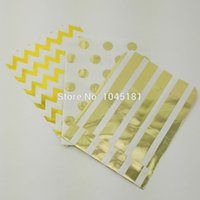Cheap Fast Shipping Metallic Gold Paper Treat Bags Chevron Striped Dot Pattern Candy Gift Bags for Wedding Birthday Party Favor