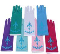 Wholesale 100pcs Baby Glitter Powder Frozen Gloves pair Princess Queen Elsa Girls Gloves for Dress Cosplay Party Gloves Kids Accessories