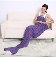 Wholesale 2016 Hot Crochet Mermaid Tail Blanket with scale colors Blanket Bed Sleeping Costume Mermaid Air condition Knit Blanket Autumn Winter