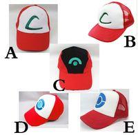 ash ketchum costumes - New style Poke Ash Ketchum Trainer Hat Costume Cap Adult Mesh Hat Trucker hat caps E839
