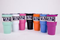 Wholesale YETI Double layers stainless steel cups oz with Transparent Lids colors for and